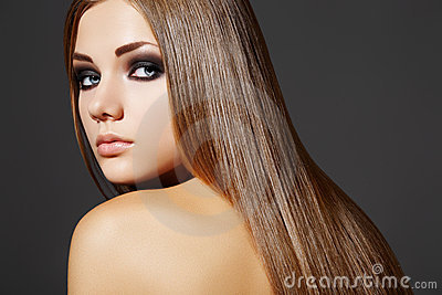 Beautiful fashion woman with long straight hair