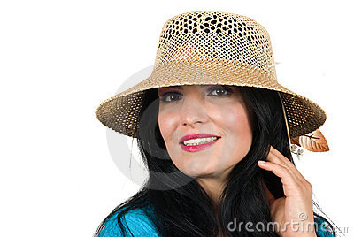 Beautiful fashion woman with sun hat