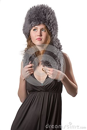 Free Beautiful Fashion Woman Wearing An Elegant Black Dress With Boot And Winter Fur Hat Stock Photos - 29342243