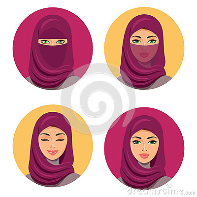 Beautiful fashion young arab woman icons set.Set four Arab girls in different traditional headdresses. Isolated. Vector. Vector Illustration