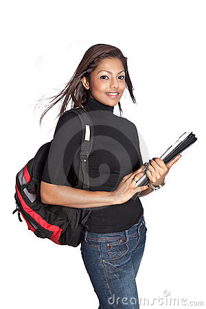 Beautiful female asian student with rucksack