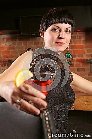 Beautiful female at a bar