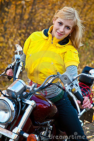 Beautiful female biker