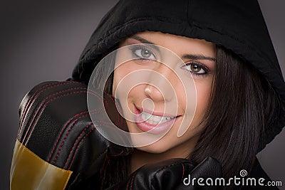 Beautiful female boxer intimate portrait gloves