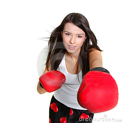 Free Beautiful Female Boxer Over White Stock Photography - 13780082