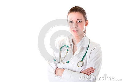 Beautiful female doctor with stethoscope