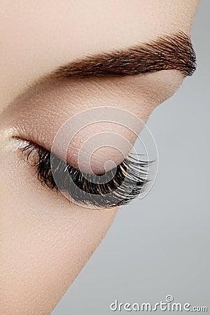 Free Beautiful Female Eye With Extreme Long Eyelashes, Black Liner Makeup. Perfect Make-up, Long Lashes. Closeup Fashion Eyes Stock Photo - 87509650
