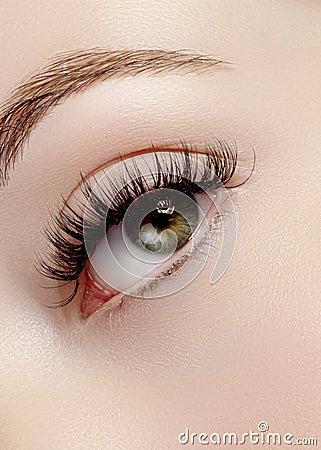 Free Beautiful Female Eye With Extreme Long Eyelashes, Black Liner Makeup. Perfect Make-up, Long Lashes. Closeup Fashion Eyes Stock Photos - 87510043