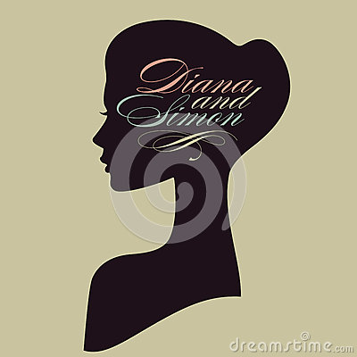 Beautiful female face silhouette in profile. Weddi