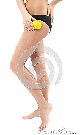 Beautiful female figure with lemon
