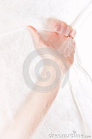 Free Beautiful Female Hand Grabbing White Fabric Royalty Free Stock Image - 24144466