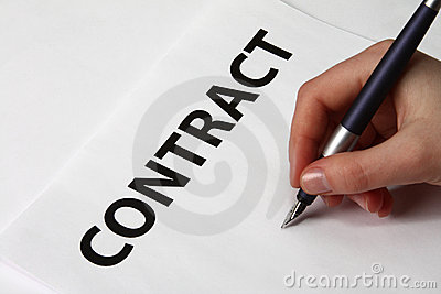 Beautiful female hand signing a contract