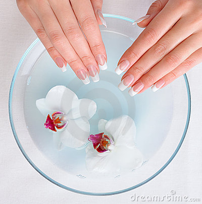 Beautiful female hands  getting spa procedure