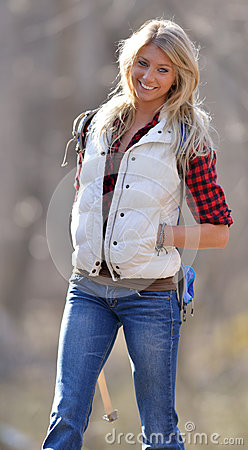 https://thumbs.dreamstime.com/x/beautiful-female-hiker-blonde-stunning-young-model-red-black-flannel-shirt-white-down-vest-jeans-hike-woods-30950065.jpg