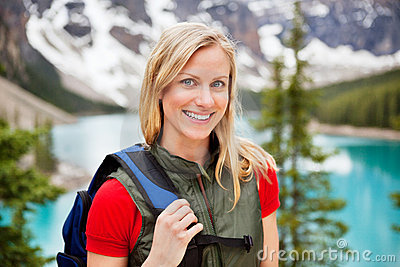 Beautiful female hiker smiling