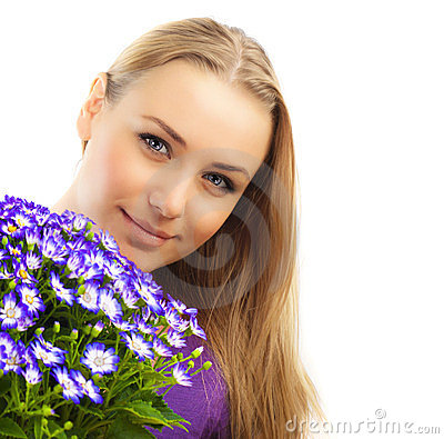 Beautiful female holding flowers