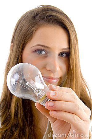 Beautiful female holding light bulb