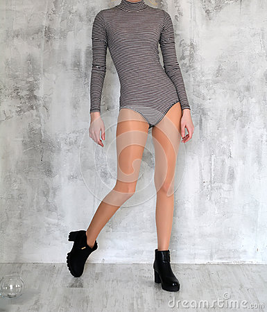 Free Beautiful Female Legs In Nylon Tights And Boots, Striped Blouse, For Girl, Photo In Photo Studio Royalty Free Stock Photography - 90746047