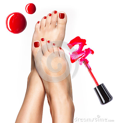 Free Beautiful Female Legs With Red Pedicure And  Nail Polish Stock Image - 33351771