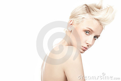 beautiful female model with blue eyes on whi