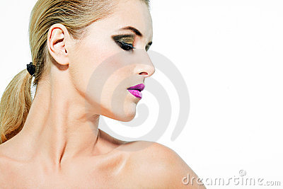Beautiful female model with full makeup.