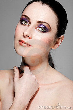 Beautiful female model with full makeup.