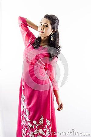 Free Beautiful Female Model In Indian Kurti Royalty Free Stock Photography - 110410037