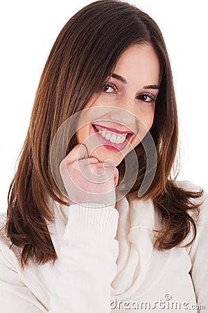 Beautiful female model smiling