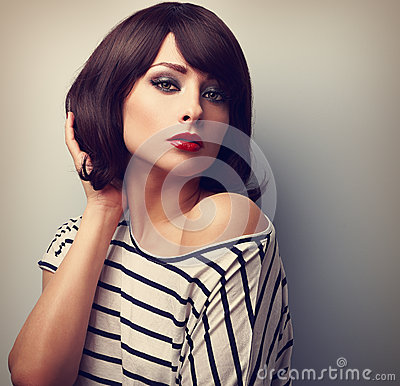 Free Beautiful Female Model With Short Hair Style In Casual Dress. Vi Stock Photos - 54404703