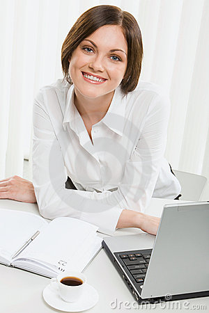 Beautiful Female Office Worker Stock Image - Image: 3050921