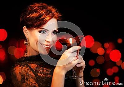 Beautiful female partying, celebrating holiday
