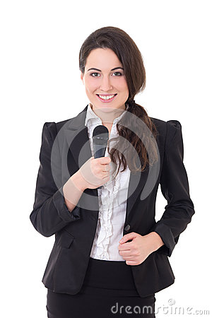 Beautiful female reporter with microphone isolated on white