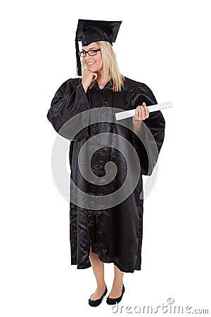 Beautiful female student graduating