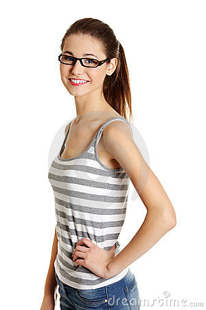 Beautiful Female Teen With Glasses On Her Face Stock