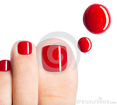 Free Beautiful Female Toes With Red Pedicure And Drops Of Nail Polish Stock Photos - 33351783