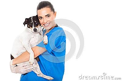 Vet hugging dog