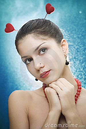 Free Beautiful Female With Two Hearts Stock Photo - 4193750