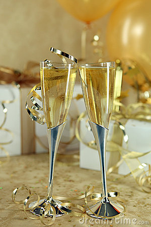 Beautiful Festive Champagne Flutes