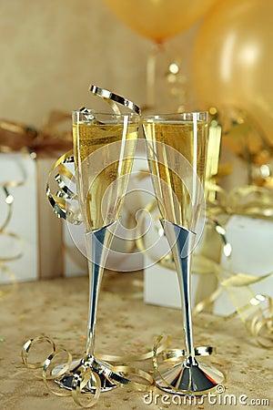 Beautiful Festive Champagne Flutes