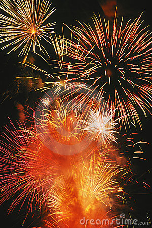 Free Beautiful Fireworks Display Lights Up The Nighttime Sky Royalty Free Stock Images - 1105779