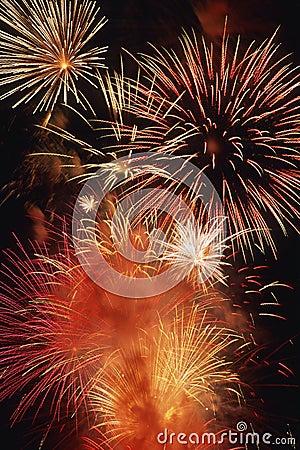 Free Beautiful Fireworks Display Lights Up The Nighttime Sky Stock Photos - 1128703