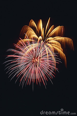 Free Beautiful Fireworks Display Lights Up The Nighttime Sky Stock Photography - 1128722