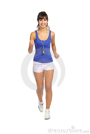 Beautiful fitness trainer running