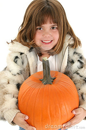 Beautiful Five Year Old Girl With Pumpkin
