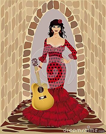 Beautiful flamenco girl with guitar