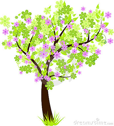 Beautiful floral blossom tree with green leaves