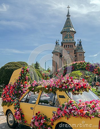 Free Beautiful Floral Decoration Of An Old Car In Timisoara, Romania Royalty Free Stock Images - 115963359