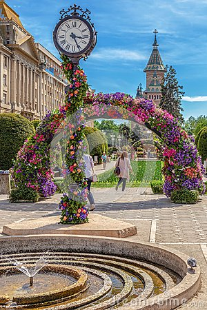 Free Beautiful Floral Decorations In Victory Square, Timisoara, Roman Stock Image - 116614611