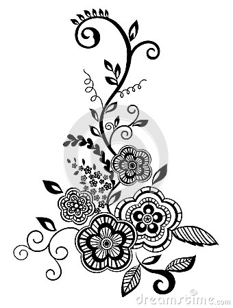 Free Beautiful Floral Element. Black And White Flowers Royalty Free Stock Images - 29089239