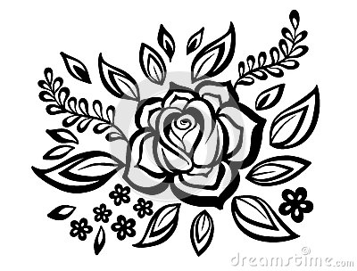 Black-and-white flowers and leaves design element with imitation guipure embroidery.
